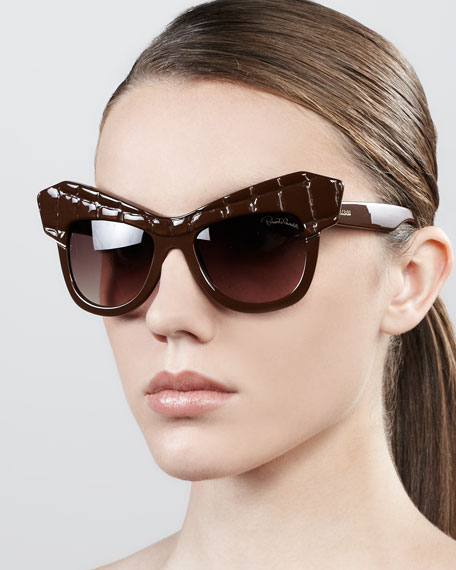 Diva Exaggerated Cat-Eye Sunglasses, Shiny Brown