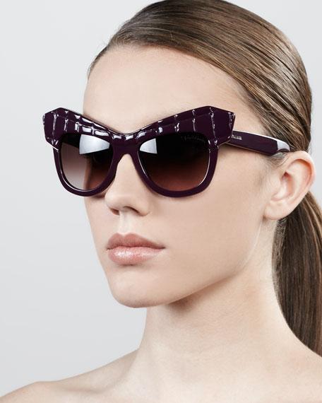 Diva Exaggerated Cat-Eye Sunglasses, Shiny Purple