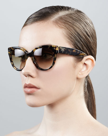 Cat-Eye Retro Rectangle Sunglasses, Medium Havana