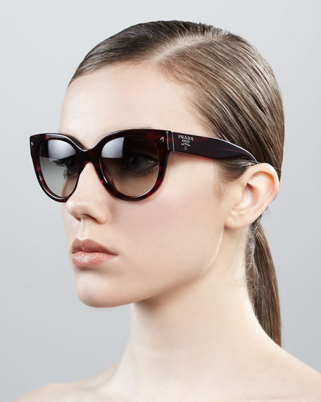 Cat-Eye Retro Rectangle Sunglasses, Red Havana