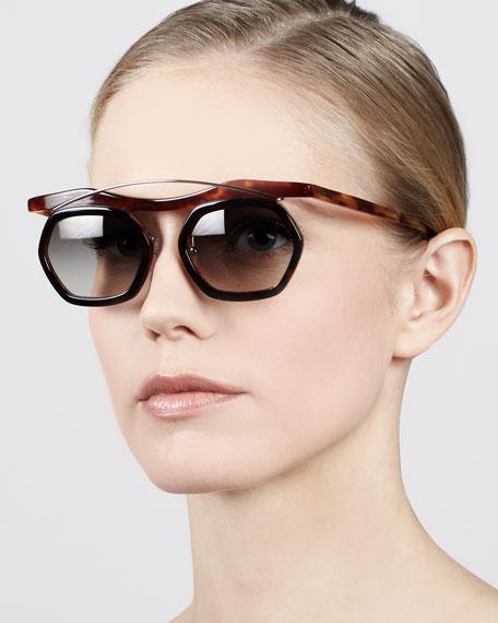 Hexagon Sunglasses, Dark/Light Havana