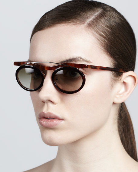 Oval Arched Sunglasses, Light Havana