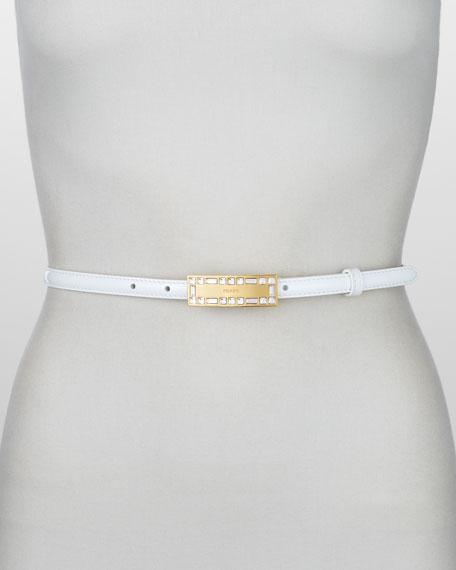 Crystal-Buckle Vernice Belt, Bianco