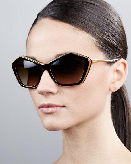 Pentagon Cat-Eye Sunglasses, Havana/Opal