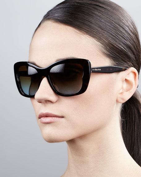 Oversized Rectangle Sunglasses, Havana