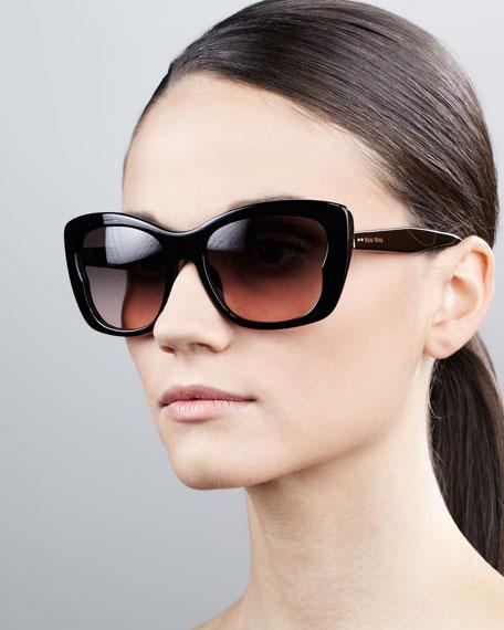 Oversized Rectangle Sunglasses, Black