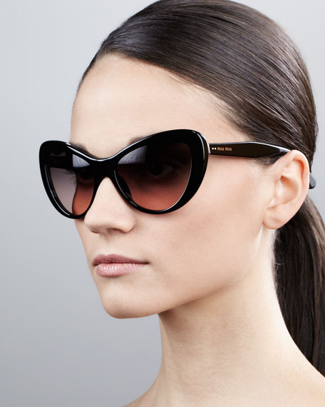 Rounded Cat-Eye Sunglasses, Black