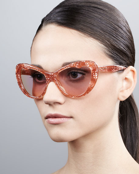 Glitter Cat-Eye Sunglasses, Rose