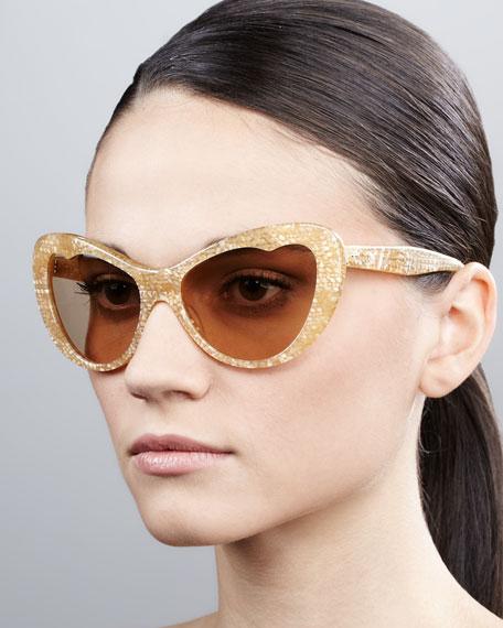 Glitter Cat-Eye Sunglasses, Orange