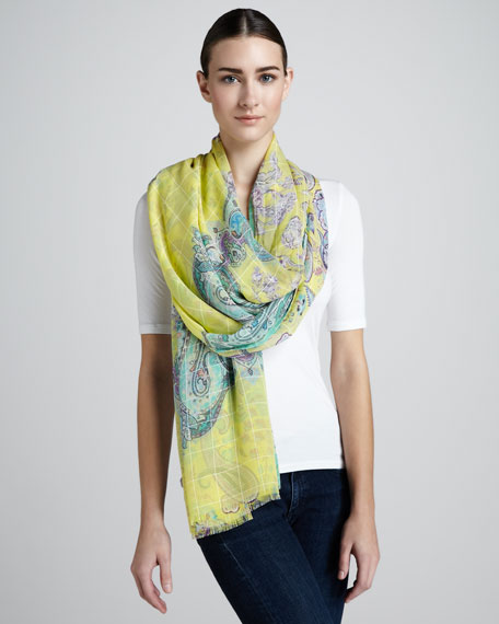 Double-Faced Chiffon Stole, Yellow