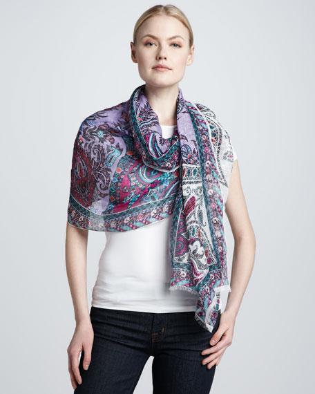 Classic Linen-Silk Paisley Scarf, Purple/Pink