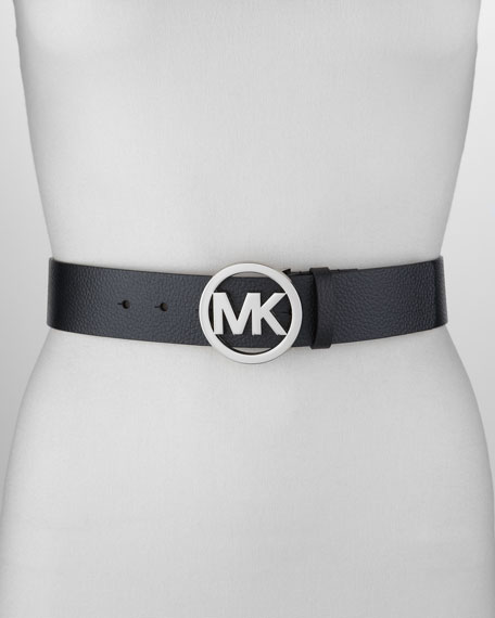 Circle Logo Buckle Leather Belt