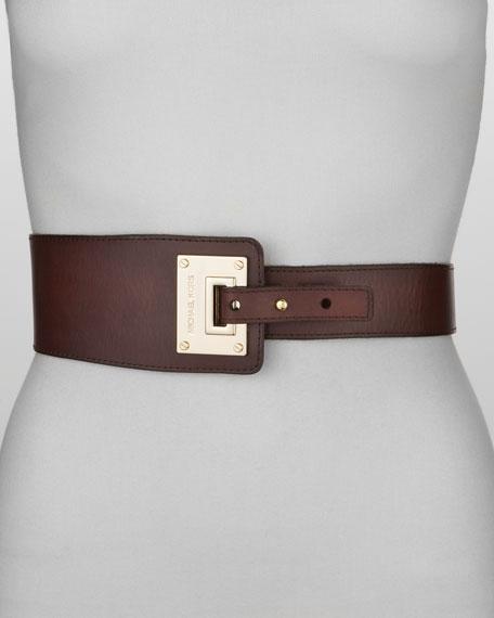 MICHAEL Michael Kors Asymmetrical Leather Belt, Chocolate