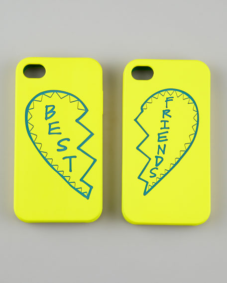 Best Friends iPhone 4 Case Set, Yellow/Teal