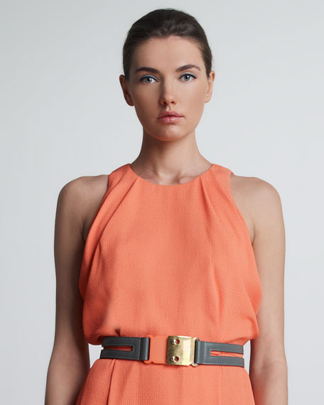 Cutout Leather Belt, Coral/Gray