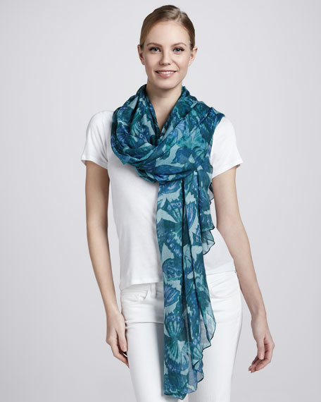 Butterfly-Print Scarf, Green/Blue