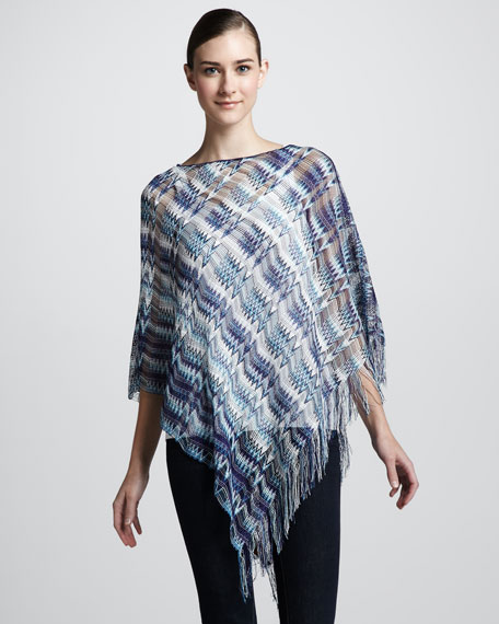 Loose Weave Zigzag Poncho, Blue