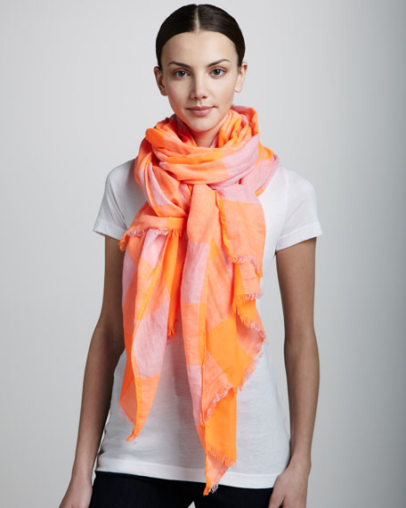 Stacey Gingham Scarf, Shocking Orange