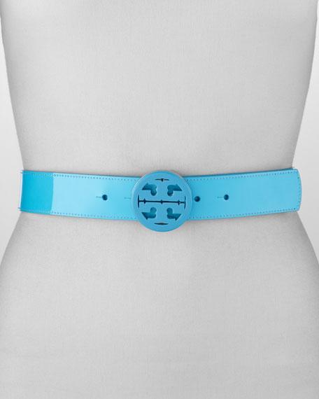 Reversible Resin-Logo Belt, Persian Blue