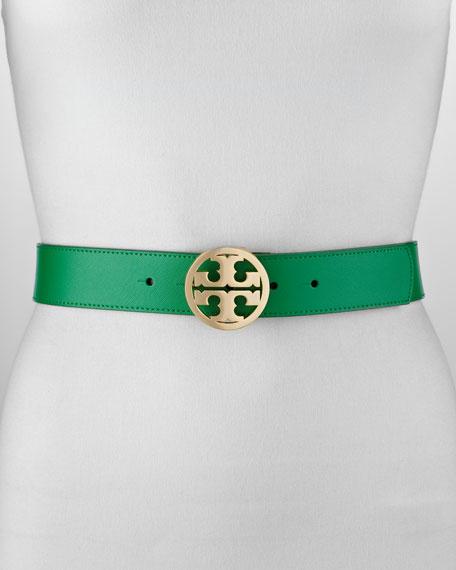 Classic Leather Tory Logo Belt, Emerald