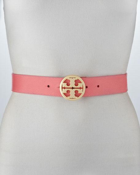 Classic Pebbled Leather Logo Belt, Rose Petal