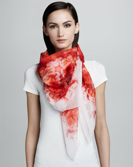 Skull Buttercup Chiffon Scarf, Red/Pink