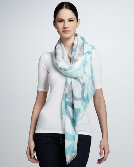 Ombre Lips Campbell Scarf, Blue/Gray/White