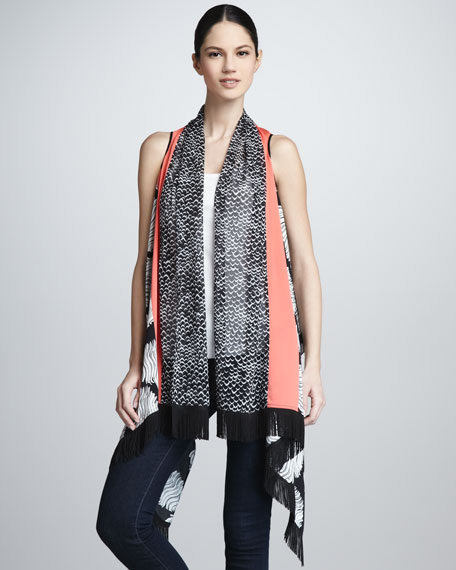 Sea & Bird-Print Silk Serape Gilet