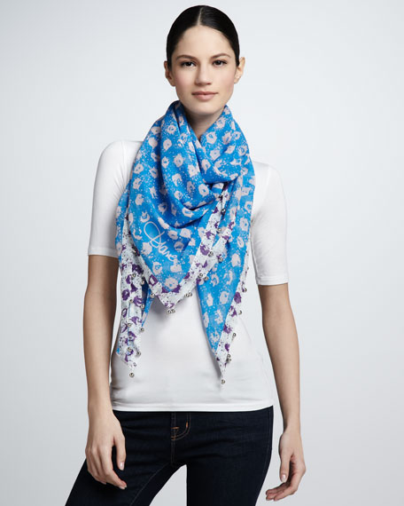 Graphic Sequin-Print Scarf, Blue