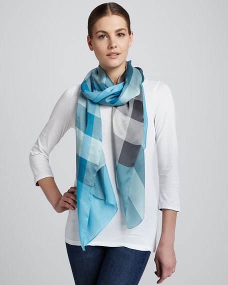 Check Oblong Silk Scarf, Turquoise