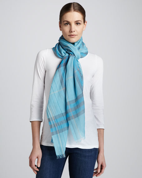 Giant-Check Gauze Scarf, Turquoise