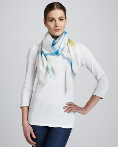 Check Gauze Square Scarf, Turquoise