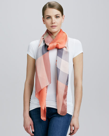 Check Silk Oblong Scarf, Coral