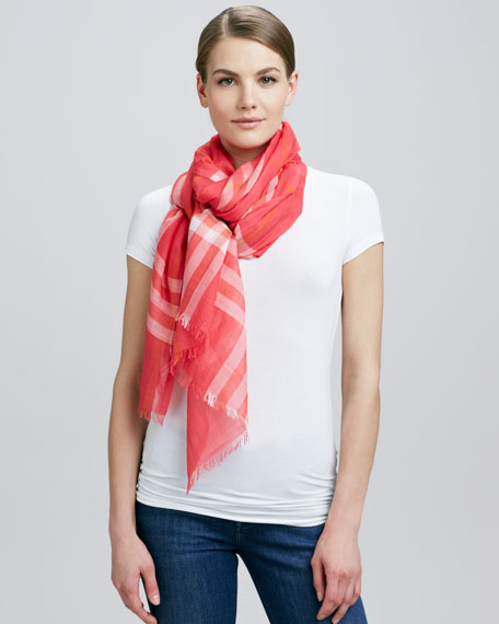 Giant Check Gauze Scarf, Pomegranate Pink