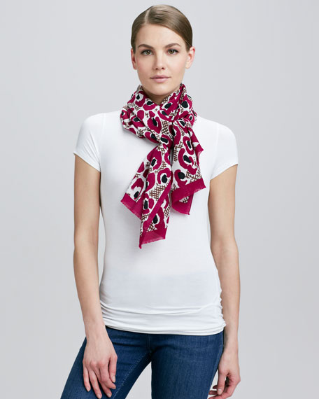 Animal Floral Silk Scarf, Fuchsia