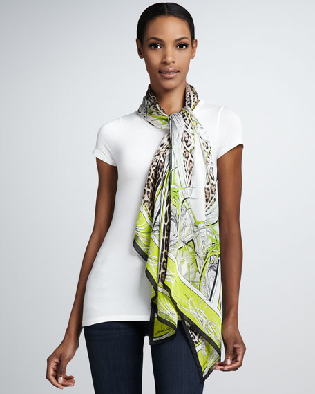 St. Louis Jaguar-Print Scarf, Brown/White/Lime