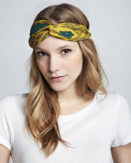 Bead-Embellished Ikat Turban