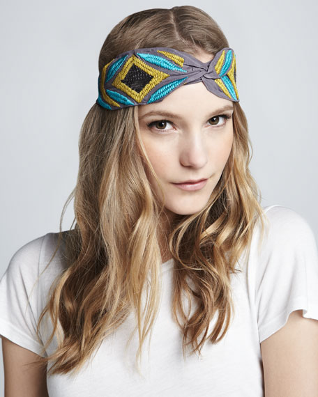 Sequined Embroidered Silk Turban