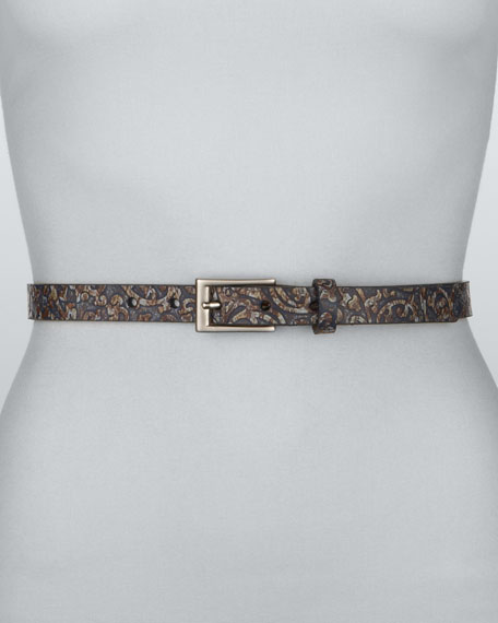 Paisley-Pattern Belt, Blue