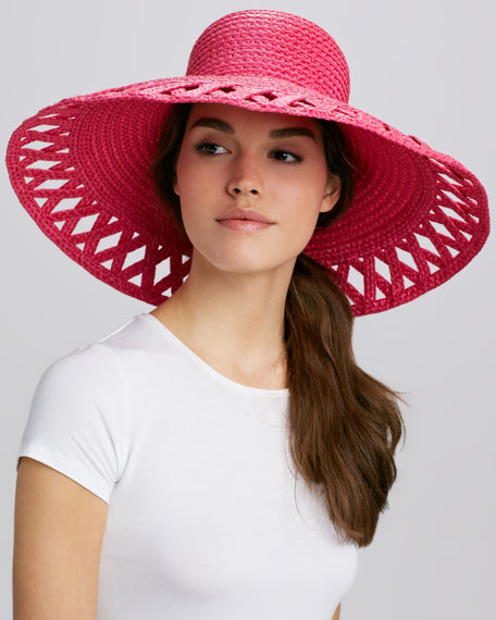 Maribel Wide-Brim Squishee Hat, Fuchsia