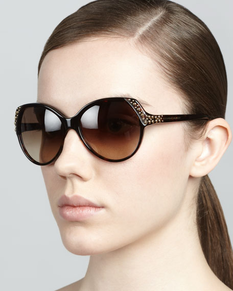 Studded Sunglasses, Brown Havana