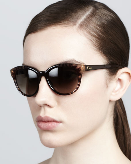 Rounded Flower Sunglasses, Brown