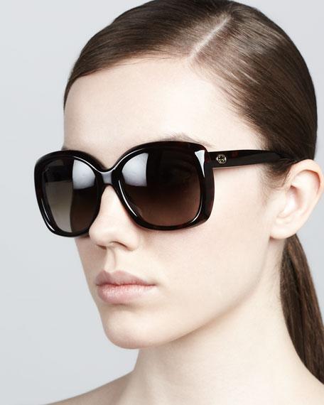 Plastic Square Sunglasses, Red/Brown Havana