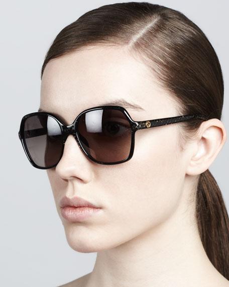 Glitter-Frame Sunglasses, Shiny Black