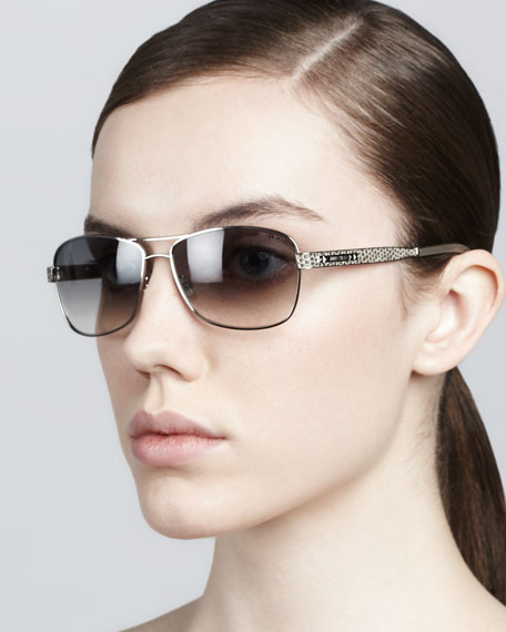 Cris Printed-Arm Sunglasses, Brown/Palladium