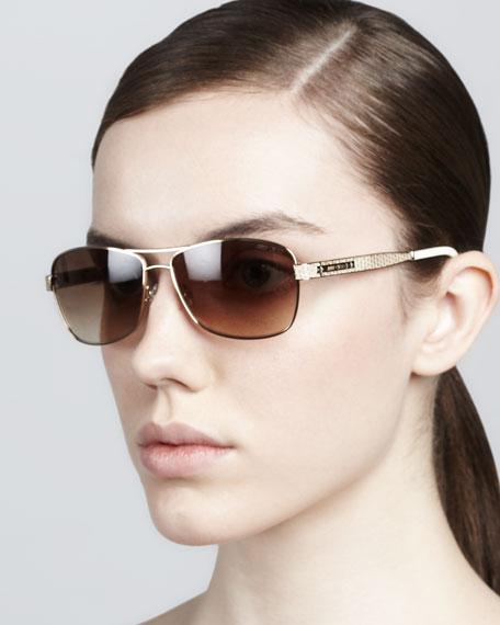 Cris Printed-Arm Sunglasses, Light Gold