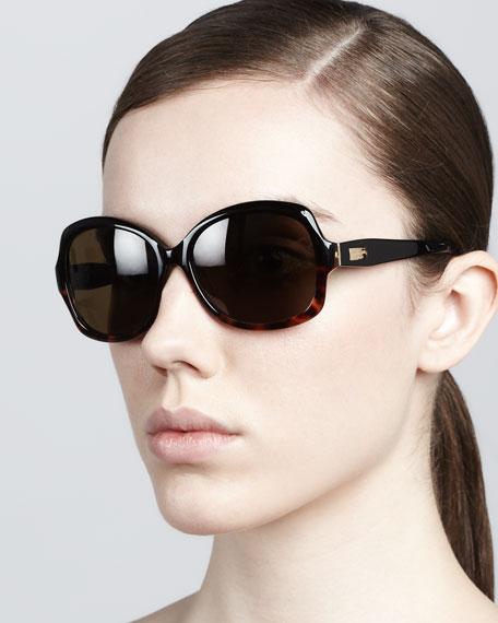 carlene rounded polarized sunglasses, black/tortoise fade
