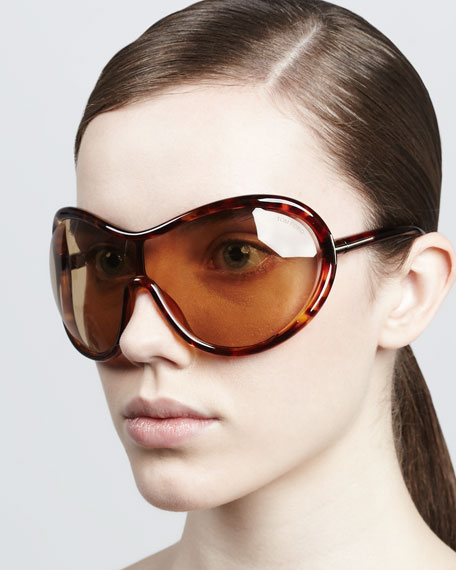 Grant Oversized Shield Sunglasses, Shiny Havana