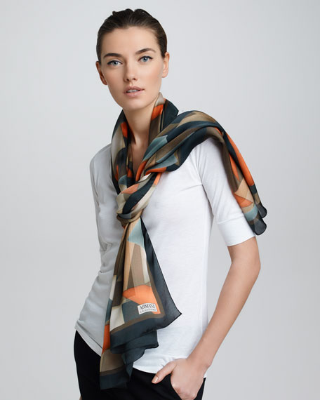 Geometric-Print Silk Stole, Spice