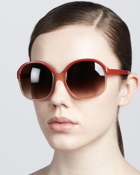 Casandra Round Sunglasses, Rust/Pecan
